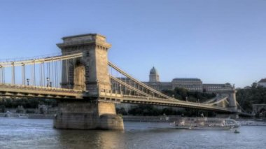 Budapest Chain Bridge — Stok video