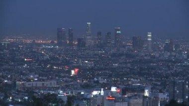 Los Angeles Skyline Twilight — Stock Video