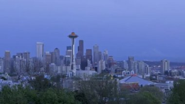 Seattle Skyline Sunset — Stok video