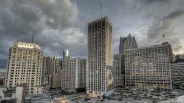 Detroit Downtown Sunset — Stok video