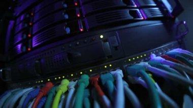 Rack de servidor em tons azul — Vídeo Stock