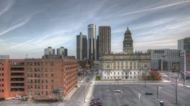 Detroit Downtown Sunset — Stockvideo