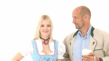 Woman in Dirndl and Man with Beer — Stock Video