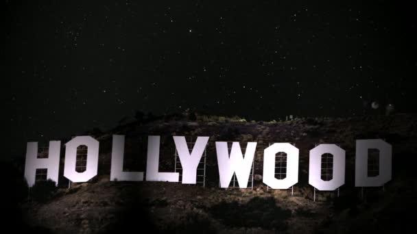 Primer plano de Hollywood sign — Vídeo de stock