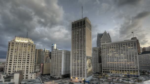 Atardecer downtown Detroit — Vídeo de stock