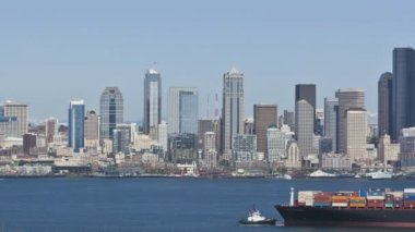 Seattle Skyline Cargo Freighter — Stock Video
