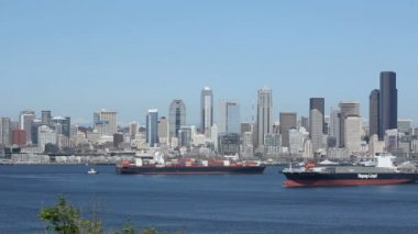 Seattle Skyline Cargo Freighters — Stock Video