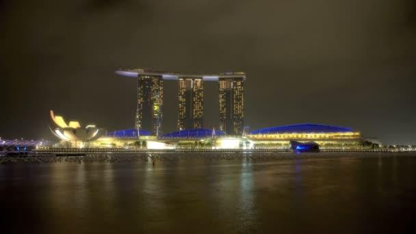 Marina de Singapur Bahía en la noche — Vídeo de stock