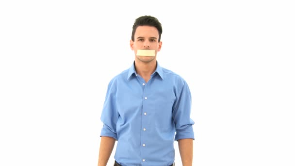 Hombre no puede hablar — Vídeo de stock