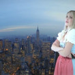Woman in front of New York - Stock Photo