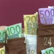 Euro bills in Advent Calendar — Stock Video