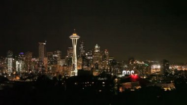 Seattle Skyline Night — Stockvideo