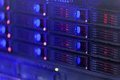 Server rack posílil v modré barvě — Stock fotografie