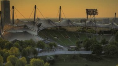 Time Lapse Munich Olympic Stadium in tilt-shift look at sunset