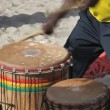 Drummers at the beach in Ibiza — Stock Video