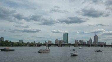 Boston Charles River Longfellow Bridge and Skyline — Stock Video