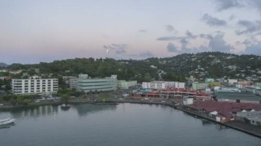 Port St Lucia Castries at sunset — Stock Video