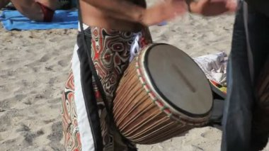 Drummers at the beach in Ibiza — Vídeo de stock