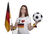Woman shows german flag and football — Stock Photo