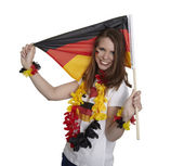 Woman shows german flag — Stock Photo