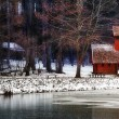 Winter landscape with little house ,forest,and lake. Wide 16:9 photo — Stock Photo #19342771