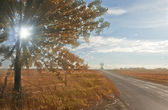 Lonely traffic road with ray of sunlight in sunset. — Stock Photo