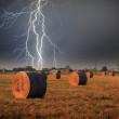 Stock Photo: Straw bales and storm