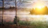 Foggy lake on cold winter morning. — Stock Photo