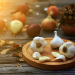 Garlic still life — Stock fotografie