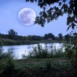 Romantic lake in moonrise — Stock Photo