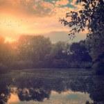Natural autumn scene with lake — Stock Photo