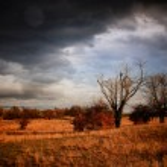 Autumnal landscape before storm — Stock Photo