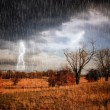 Lightning storm over land — Stock Photo