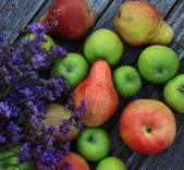 Healthy fruits on wooden table — Stock Photo