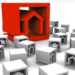 um monte de cubos de imóveis — Foto Stock
