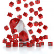Santa Claus 3d under a rain of gifts — Stock Photo