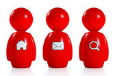 3d red humans with web symbols — Stock Photo
