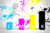 3d small man jumps on cmyk colors — Stock Photo