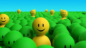Some 3d yellow men come out from a green crowd — Stock Photo