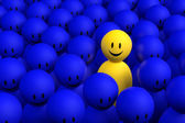 3d yellow man comes out from a blue crowd — Stock Photo