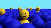 Certains hommes jaunes 3d sortent une foule bleue — Photo