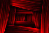 Red curtain frame illusion — Stock Photo