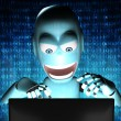 Nerd Robot hacker with blue binary code on background — Stock Photo