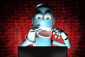 Nerd Robot hacker arrested with red binary code on background — Foto Stock