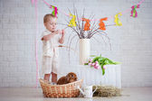 little boy with rabbit and easter decorations — Stock Photo