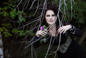 Bruja se esconde detrás de los arbustos — Foto de Stock