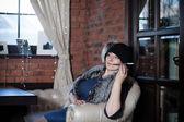 Woman in vintage clothes smoking — Fotografia Stock
