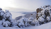 Winter view of the Crimean mountains, Ukraine. — Stock Photo