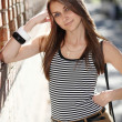 A girl in a striped T-shirt — Stock Photo