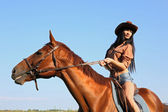 The girl rider — Stock Photo